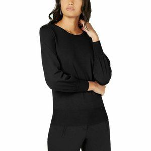 Alfani Womens Bishop Sleeves Banded Knit top